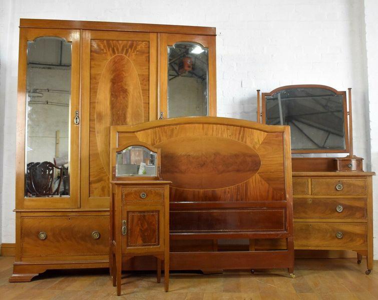 Antique Inlaid Mahogany 4 Piece Bedroom Suite Vinterior