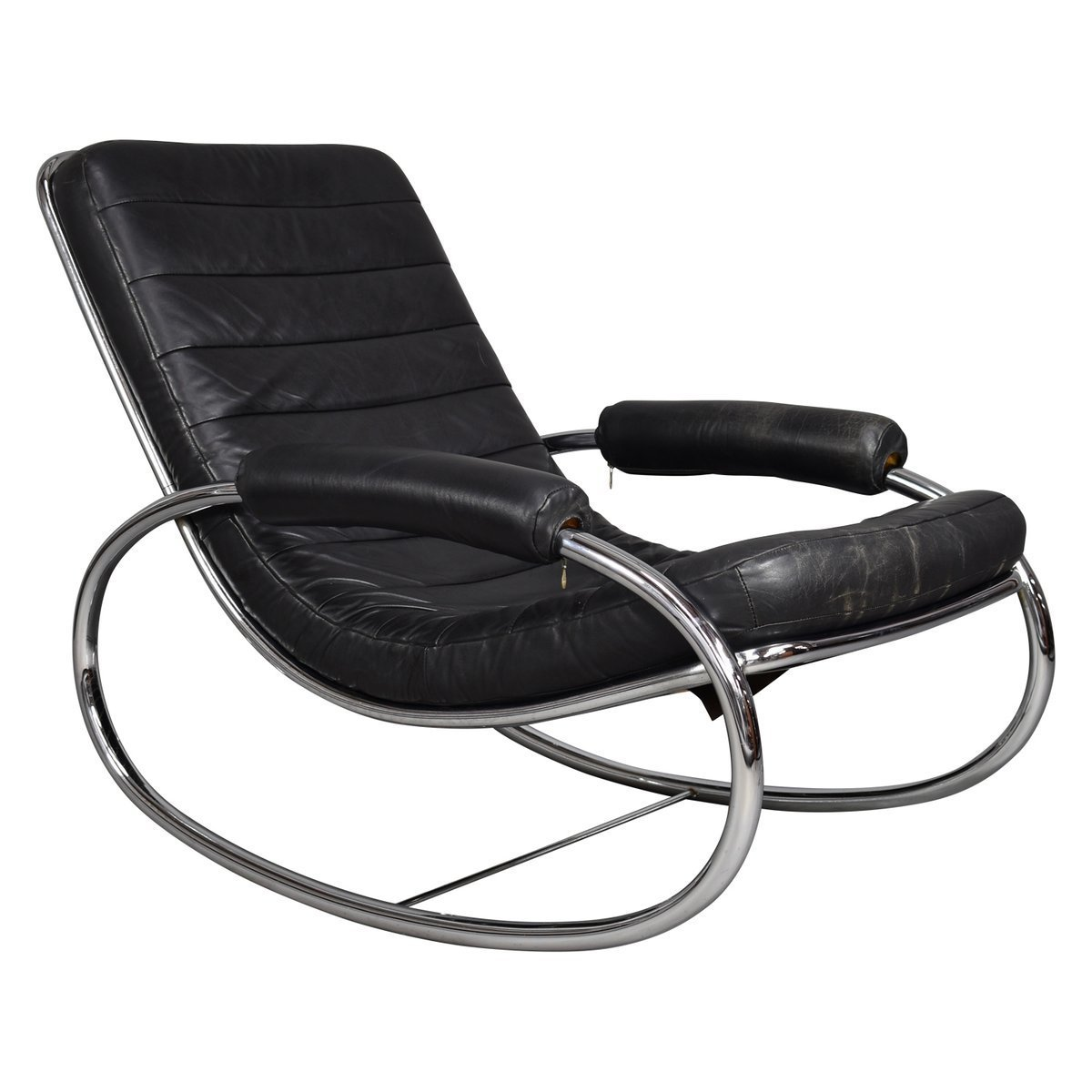 wholesale dealer 6d95e a0441 Vintage Chrome And Leather Rocking Chair, 1970s