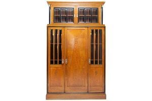Thumb early 20th century viennese secession library cabinet in oak 0