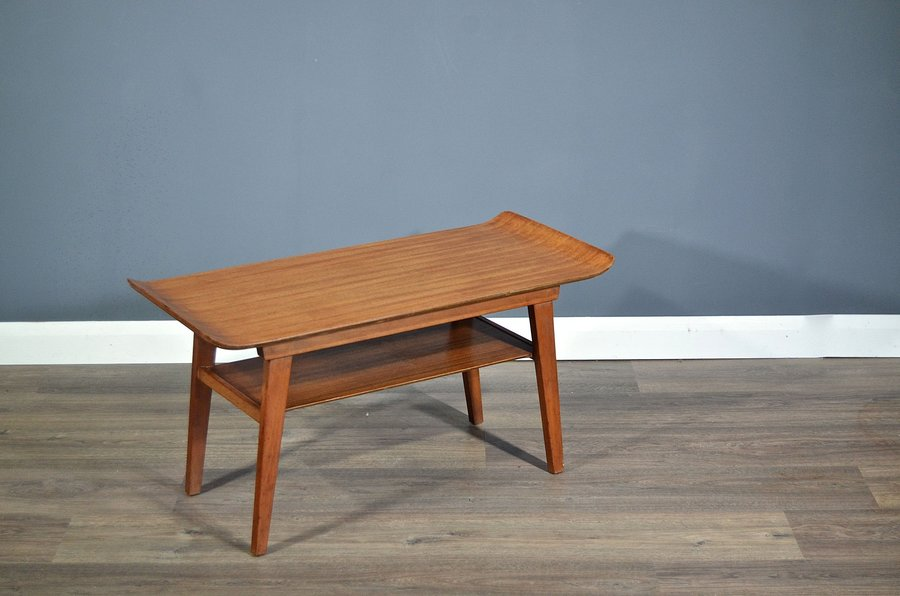 Vintage Midcentury Myer Two Tier Teak Coffee Table Side Table