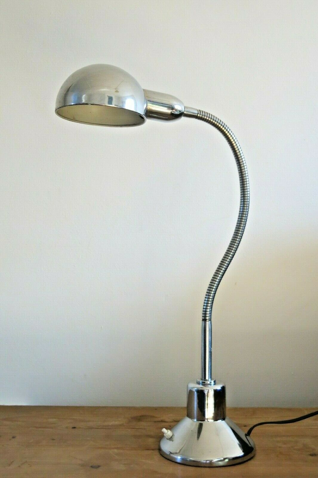 Image of: Vintage Mid Century Jumo 210 French Industrial Chrome Desk Lamp Vinterior