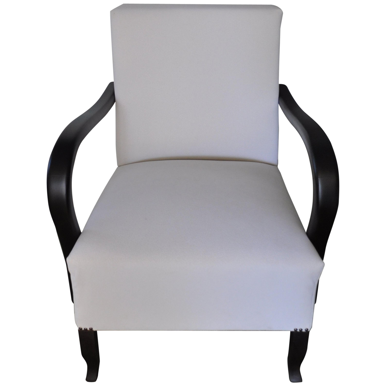 Art Deco White Armchair, Circa 1920s