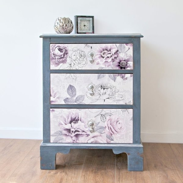 Lilac And Grey Chest Of Drawers Decoupaged In Romantic Floral Paper photo 1