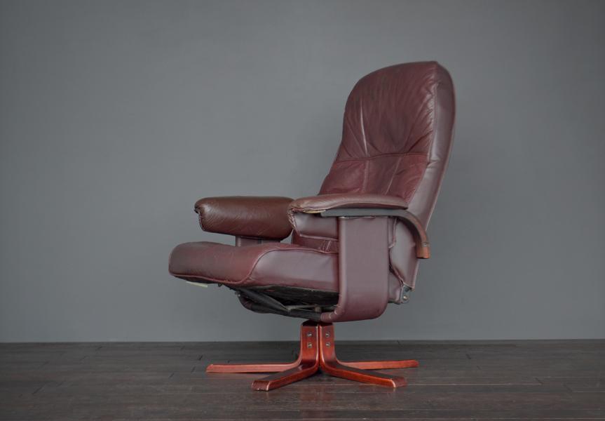 Superb Original Retro Vintage Mid Century Danish Leather Reclining Swivel Armchair Lounge Chair Download Free Architecture Designs Grimeyleaguecom