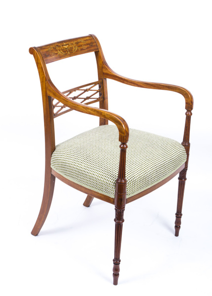 Antique Sheraton Revival Satinwood Armchair C1880