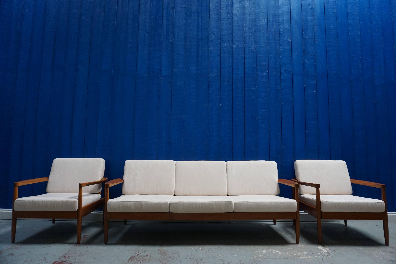 3 + 1 + 1 Mid Century Modern Danish Living Room Set, Sofa And Armchairs
