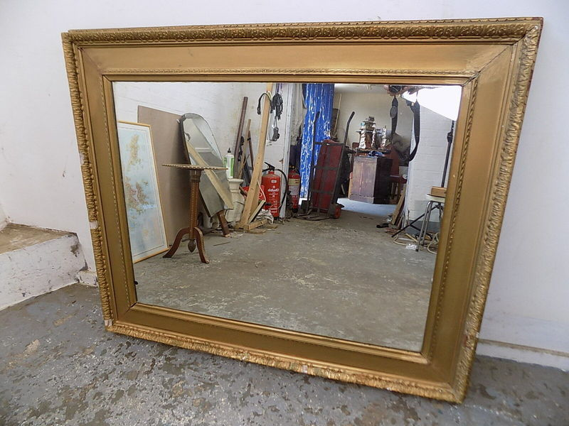 Antique Victorian Large Rectangle Shabby Gold Mirror Wall Mirror Hanging Mirror Vinterior