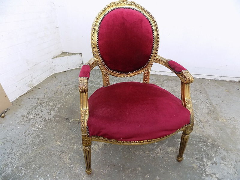 Peachy French Louis Style Wood Frame Carved Gold Arm Chair Red Fabric Chair Bedroom Machost Co Dining Chair Design Ideas Machostcouk