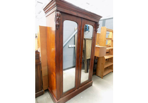 Ornate Victorian Double Mirror Door Wardrobe With Key 100% Guarantee Armoires/wardrobes