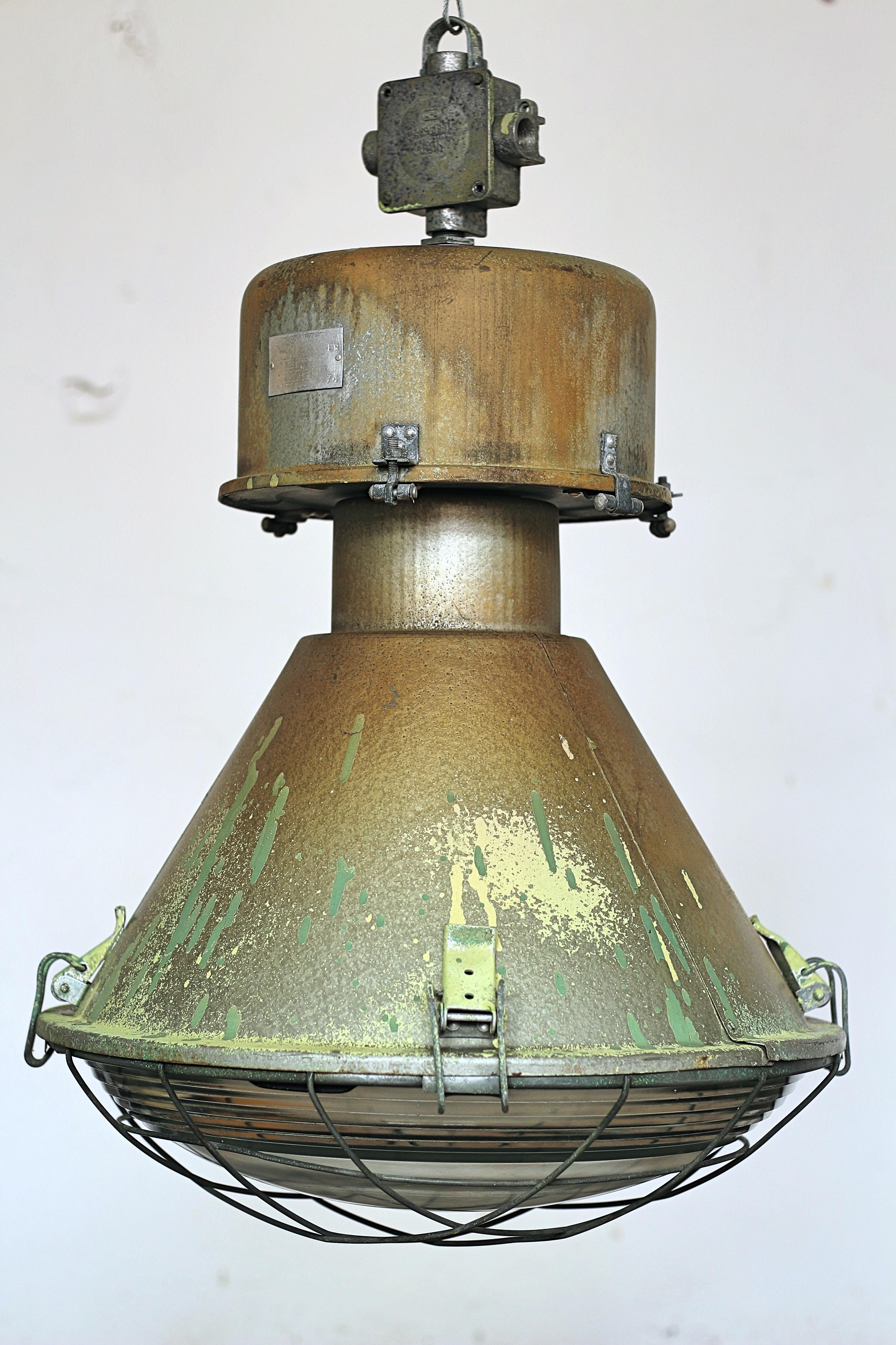 Mid Century Polish Vintage Retro Warehouse Hangar Pendant Lamp Light