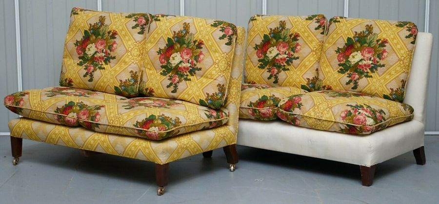 Rare Antique Howard Sons Stamped Pair Of Sofa Benches Feather Filled Cushions