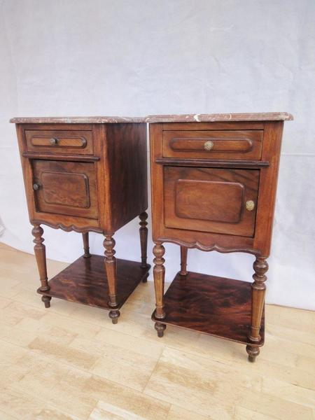 Pair Of 19th Century Antique French Louis Bedside Cabinets With Marble Tops