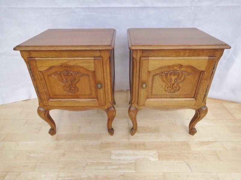 Pair Of Antique Style French Country Oak Bedside Cabinets photo 1