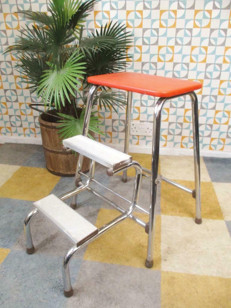 Vintage 70 S Brabantia Folding Step Stool Chrome Orange