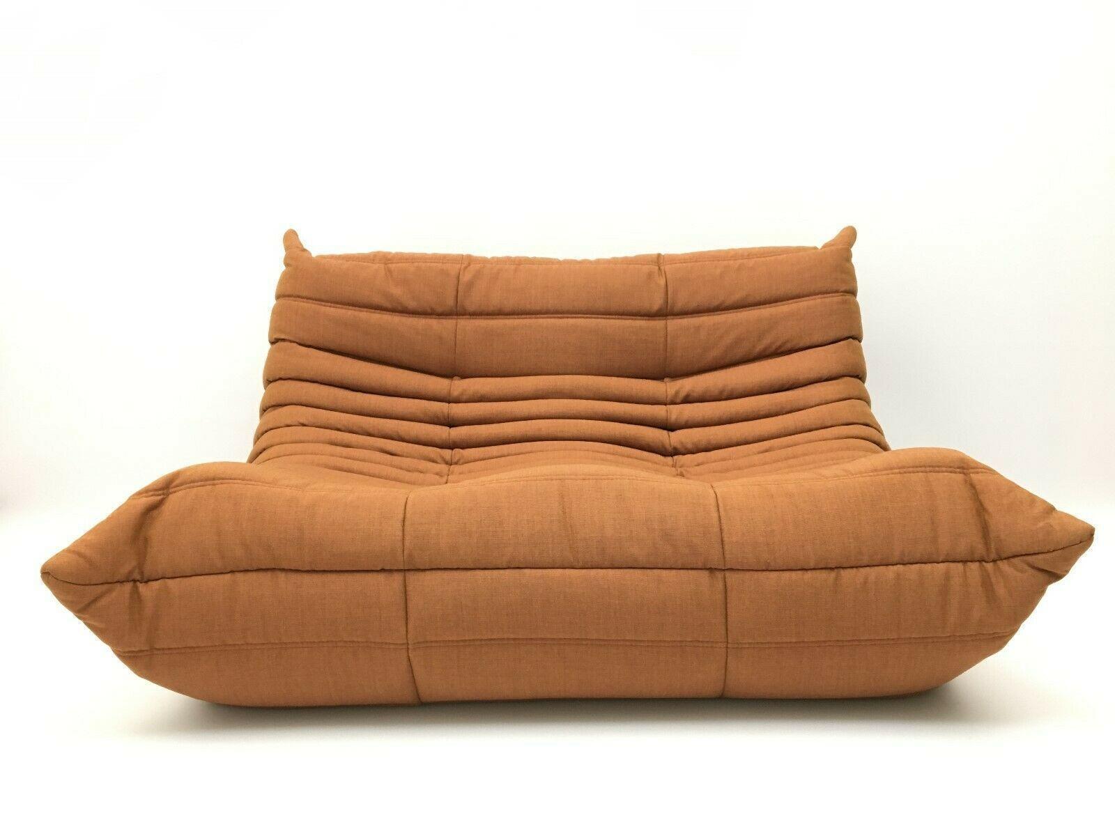Longue Brown Design Orange Chaise Two Genuine Sofa Togo Ligne Roset Seater EDYWIH29