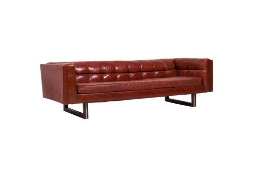 Tuxedo Red Leather Sofa By Milo Baughman, 1950s