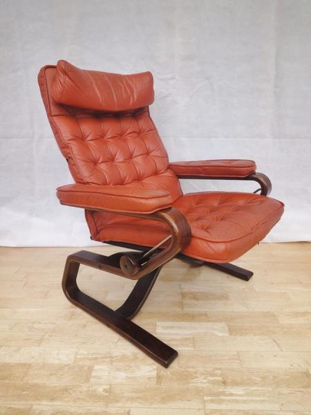 Retro Vintage Norwegian Ekornes Leather Bentwood Lounge Easy Armchair 1960s