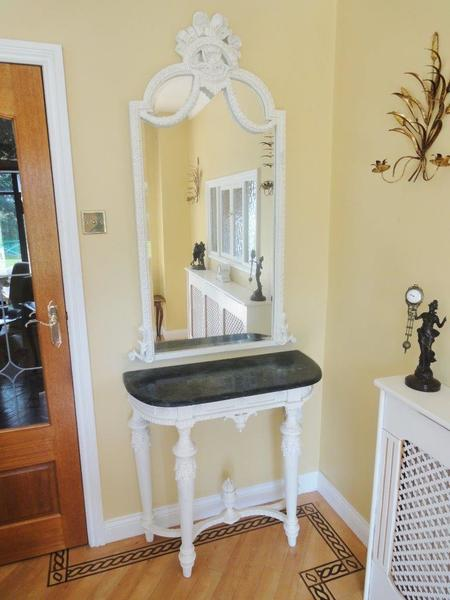 Antique Style French Painted Demi Lune Marble Top / Matching Mirror