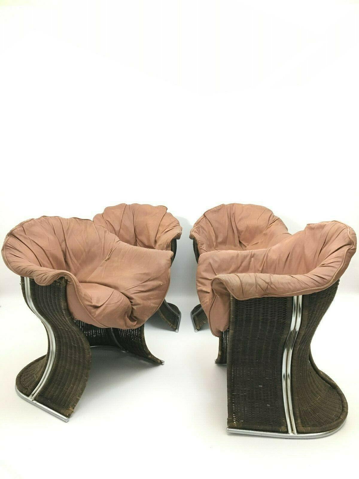 Fine Unique Vintage Retro Wicker Leather Chairs Armchair Venus By Pieff Set Of 4 Dailytribune Chair Design For Home Dailytribuneorg