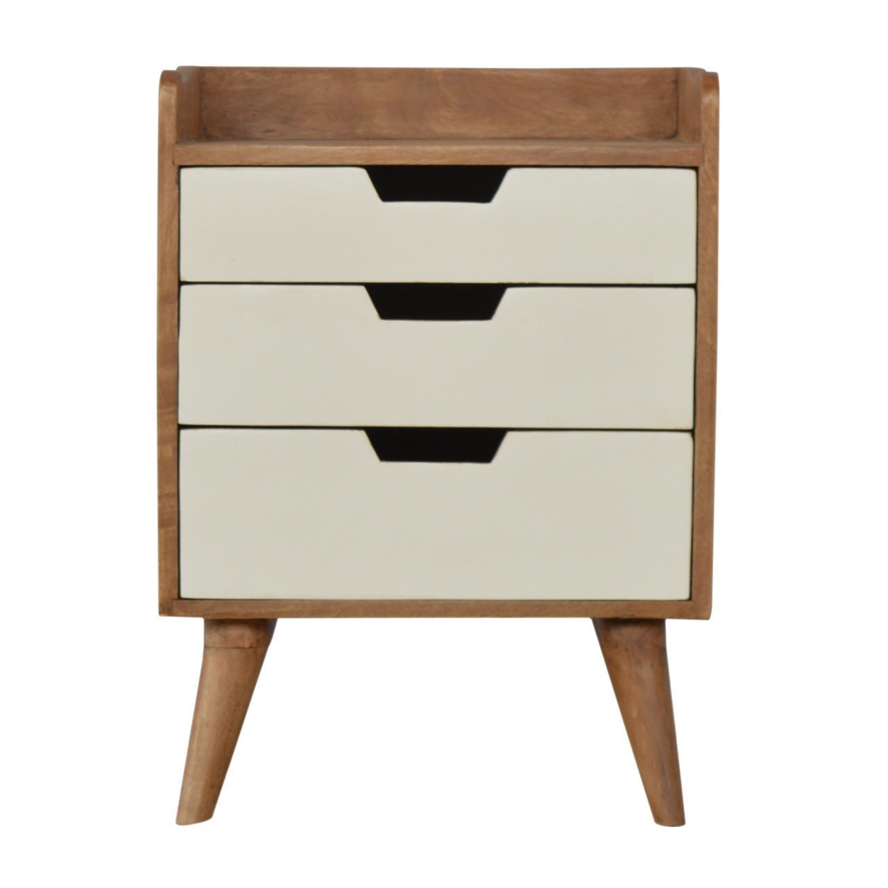 Mid Century Modern Style Solid Wood 3 Drawers Bedside Table White