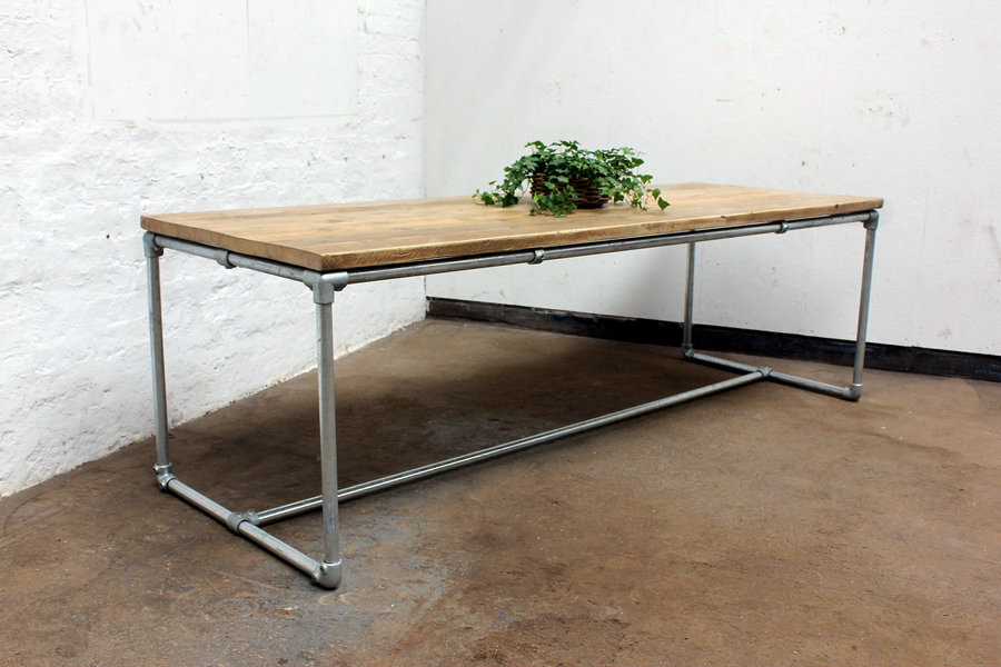 Carly Reclaimed Scaffolding Board Dining Table With Galvanized Pipe Legs Bespoke Furniture