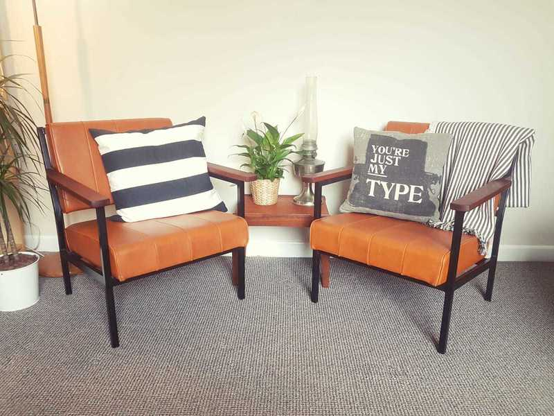 Pair Of 1970's Retro Industrial Godfrey Syrett Lounge Armchairs In Tan/ Orange Leatherette, Teak Arms And Steel Frames. photo 1