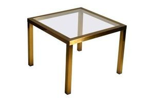 Thumb 1970s minimal square brass coffee table with clear glass top 0