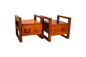 Thumb pair of 1950s modernist french bed side tables with orange and blue tops 0