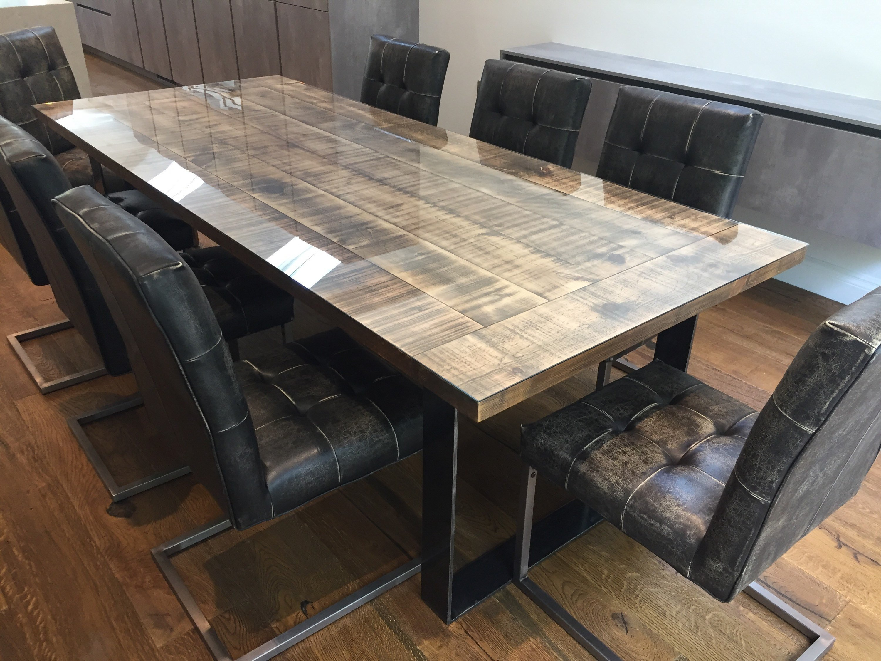 Groovy Industrial Dining Table With Glass Top 8 Seater Dining Table Rustic Industrial Furniture Board Room Table Home Interior And Landscaping Eliaenasavecom