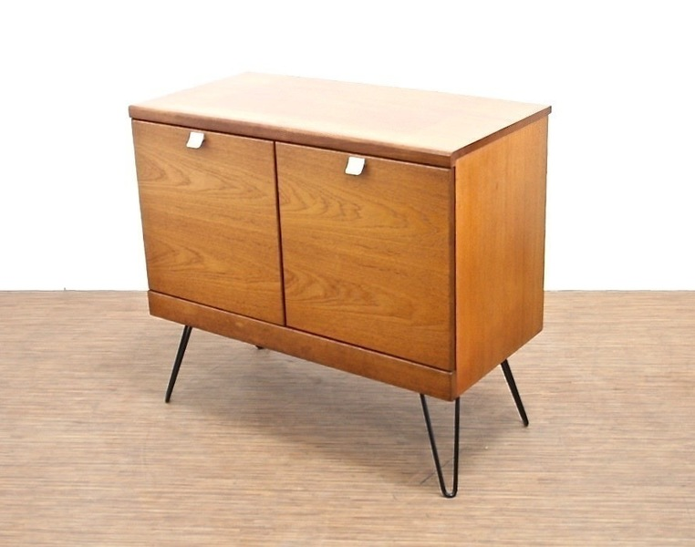 Vintage Small Teak Sideboard On Industrial Hairpin Legs
