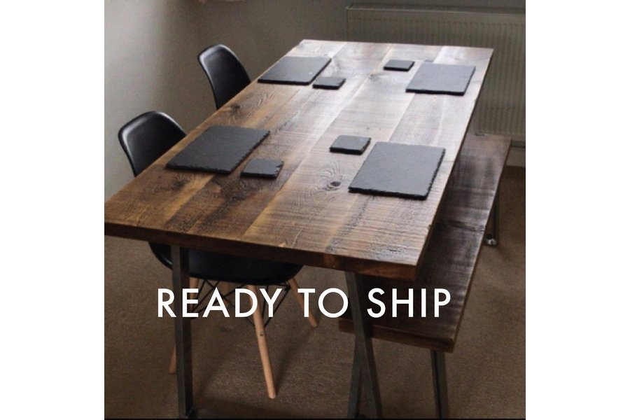 de1dc4af6f ... Rustic Industrial Table And Bench Package With Trapezium Legs, Dining  Table ...