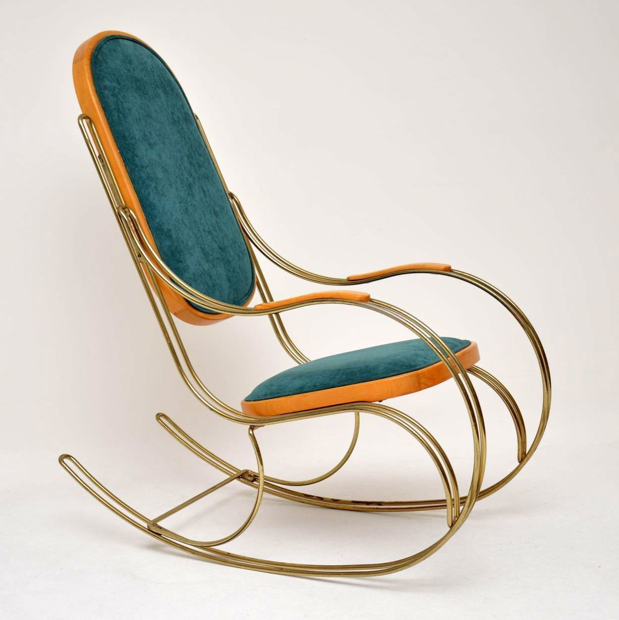 Magnificent 1970S Vintage Italian Brass Rocking Chair Gmtry Best Dining Table And Chair Ideas Images Gmtryco