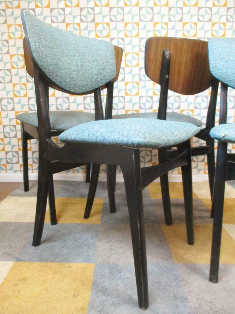 Super Set Of 4 Vintage 60S Dining Chairs Black Teak Blue Vinyl Mid Century Retro Gmtry Best Dining Table And Chair Ideas Images Gmtryco