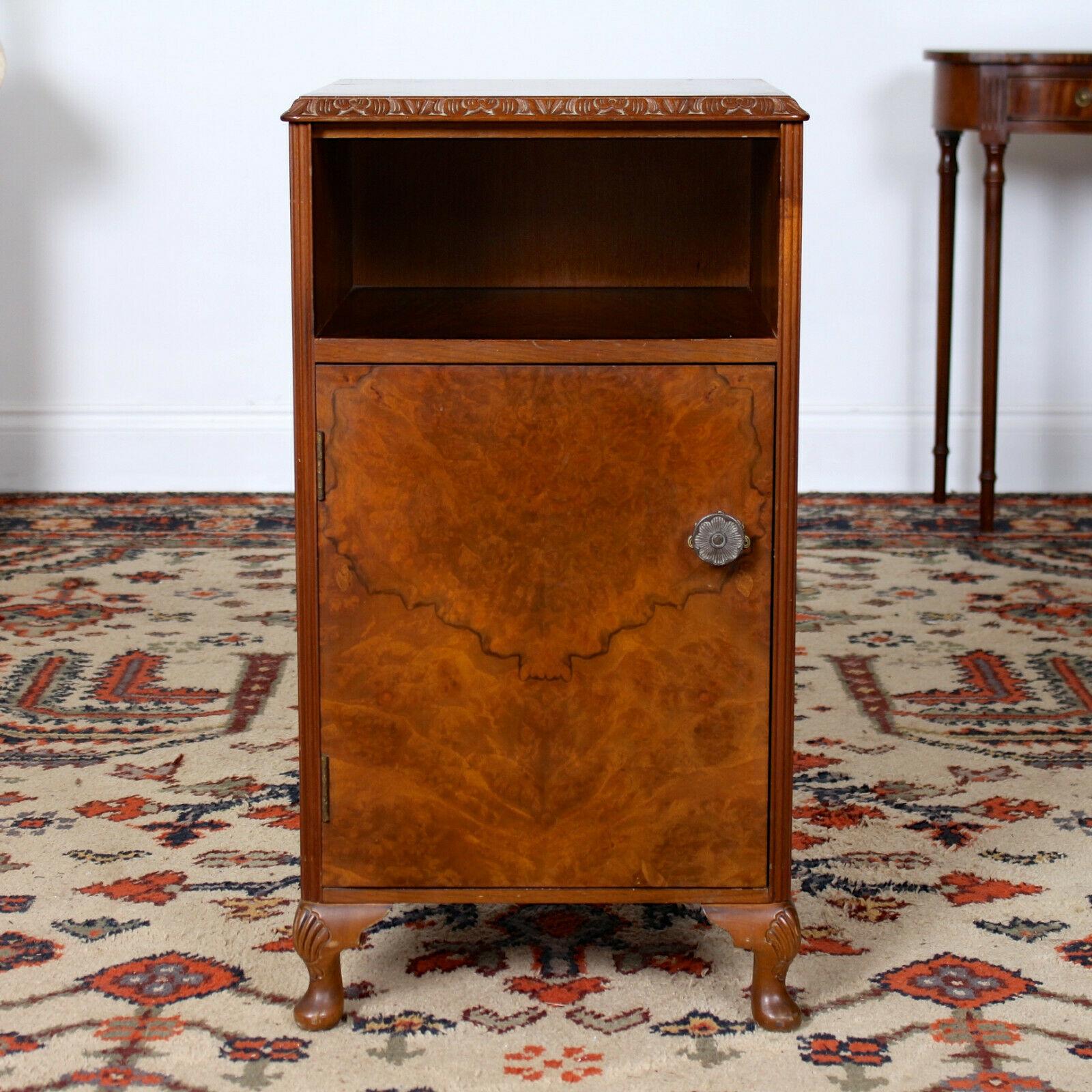 Vintage Walnut Bedside Cabinet Art Deco Nouveau Carved Bedside Table