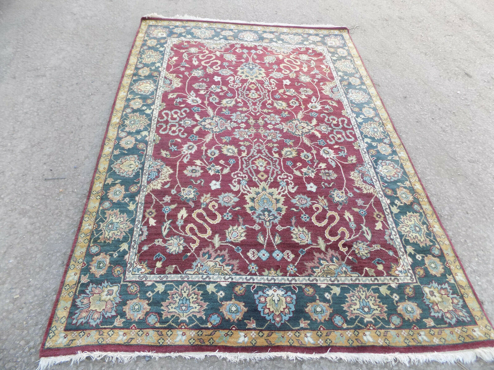 8 X 5 Large Rug Vintage Large Indian Floral Hand Made Wool Thick Pile Carpet