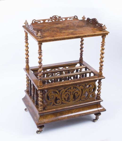 Antique Victorian Burr Walnut Canterbury C.1850