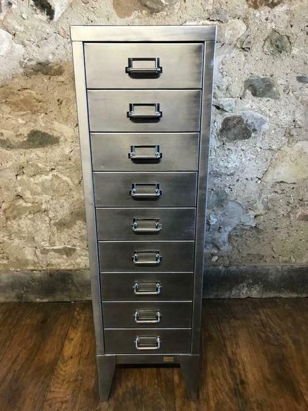 Vintage Industrial Stripped Metal 9 Drawer Filing Cabinet