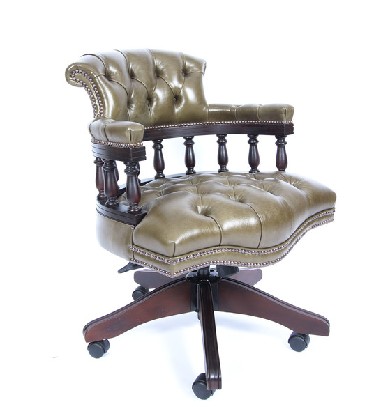 Wondrous Bespoke English Hand Made Leather Captains Desk Chair Olive Green Uwap Interior Chair Design Uwaporg