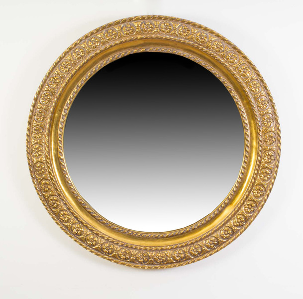 Elegant Italian Decorative Gilded Circular Mirror