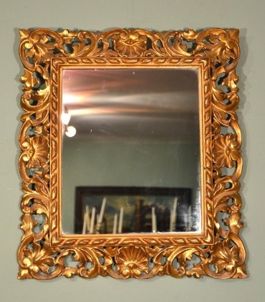 Vintage Elaborate Gilded Hand Carved Florentine Mirror