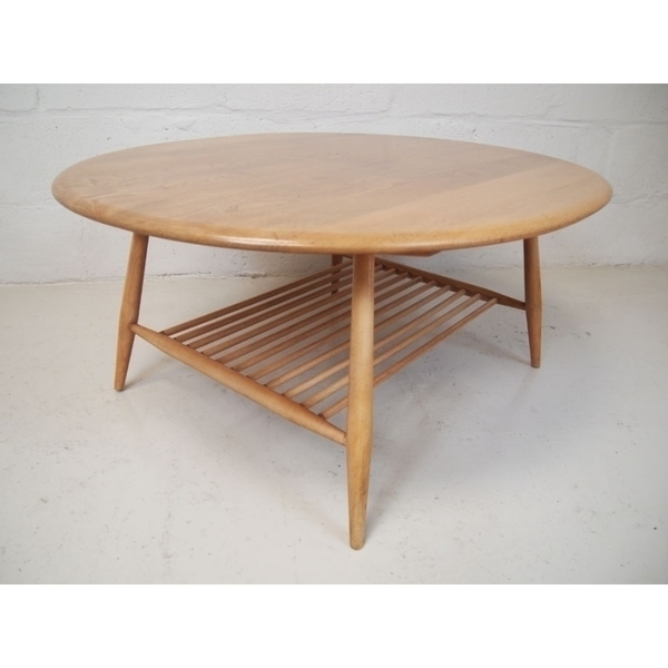 Ercol Vintage Beech & Elm Coffee Table On Splayed Legs