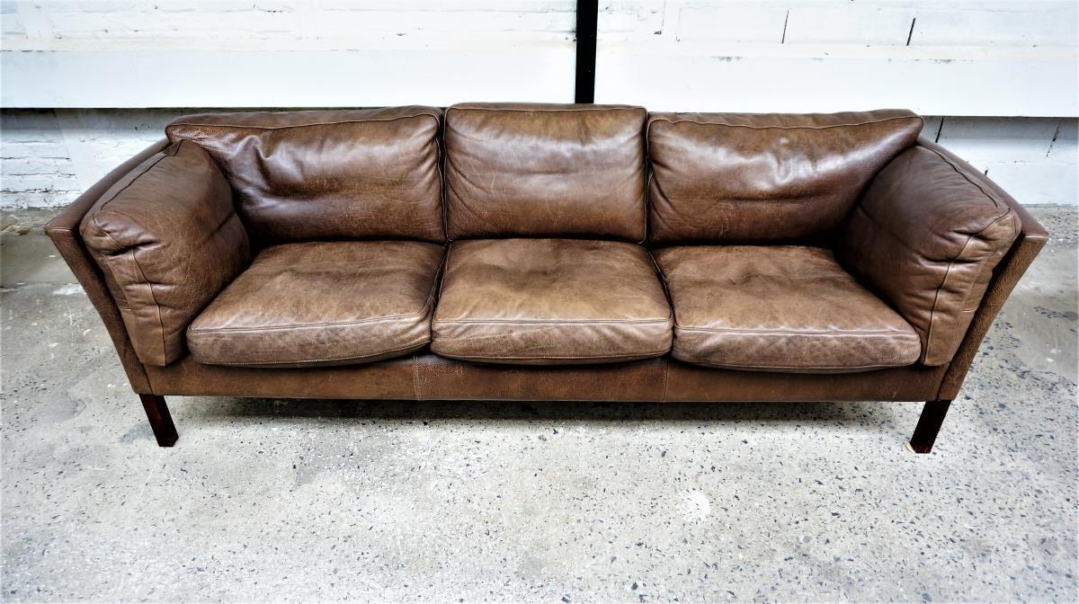Scandinavian Leather Sofa Brown