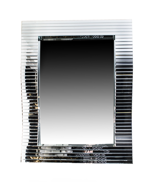 Gorgeous Rectangular Wave Pattern Art Deco Mirror photo 1