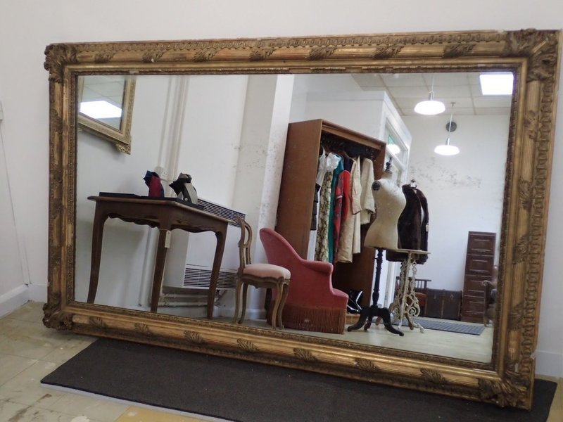 Large French Plaster Gilded Mirror