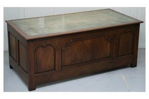 Thumb stunning circa 1900 oak green leather topped desk or shops counter arts crafts 0