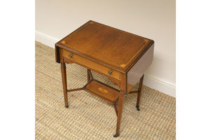 Thumb small victorian rosewood inlaid antique sofa table side table 0