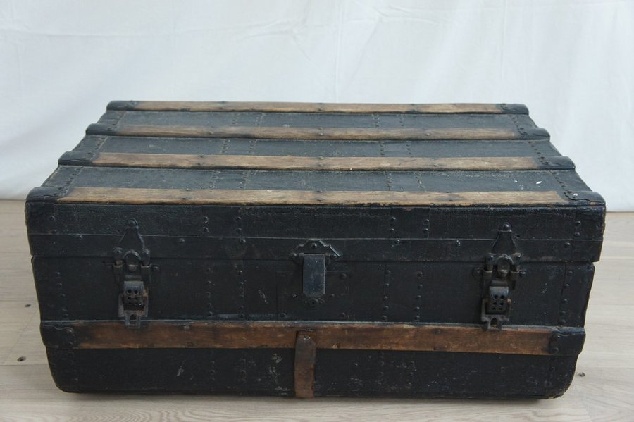 Black, Wood, Metal And Leather Travel Trunk
