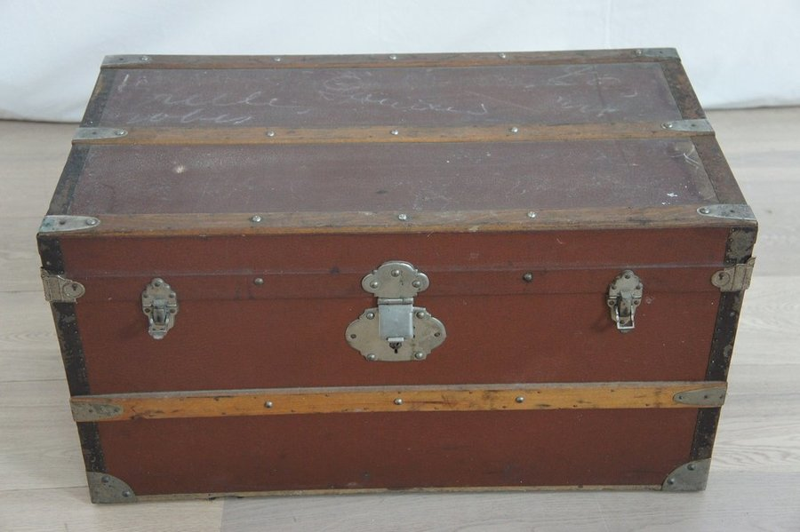 Vintage Leather Bound Travel Trunk photo 1