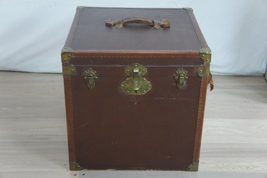 Square Leather Bound Travel Trunk