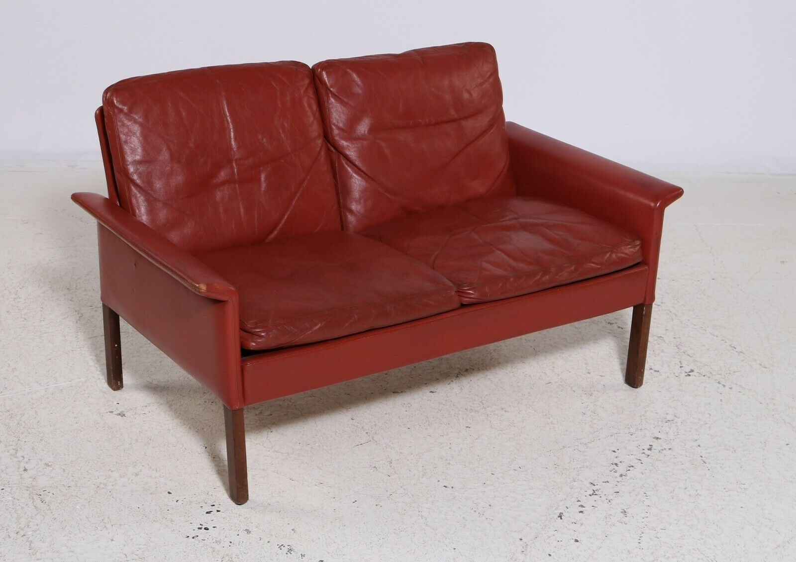Mid Century Modern Danish Hans Olsen Indian Red Leather Sofa 1962